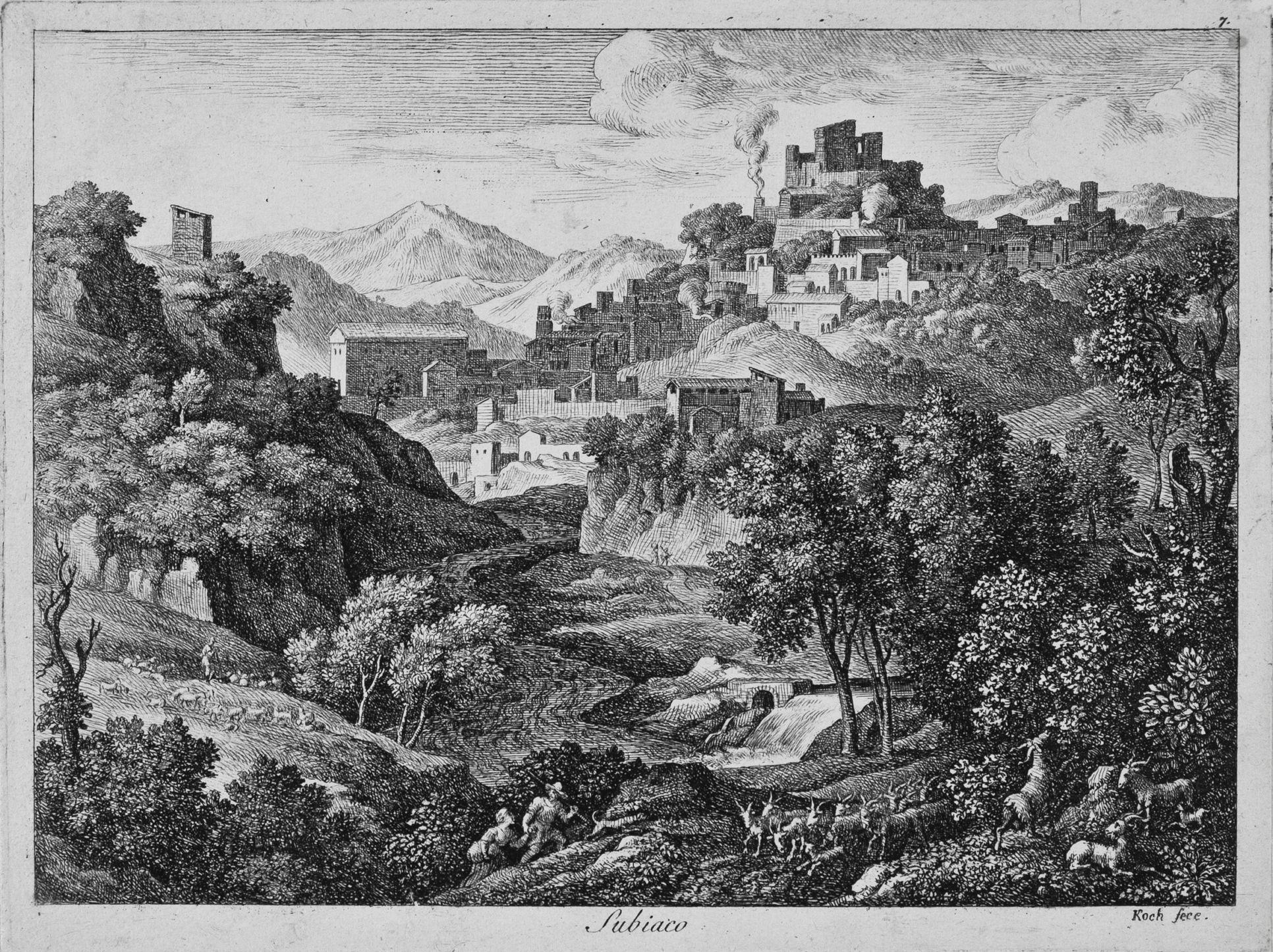 J.A. Koch - Veduta di Subiaco (prima metà '800)